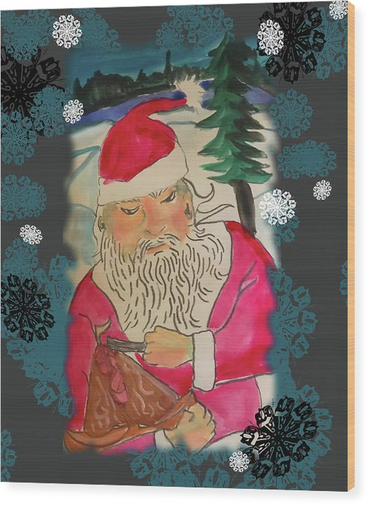 Santa Makes A Toy - Wood Print