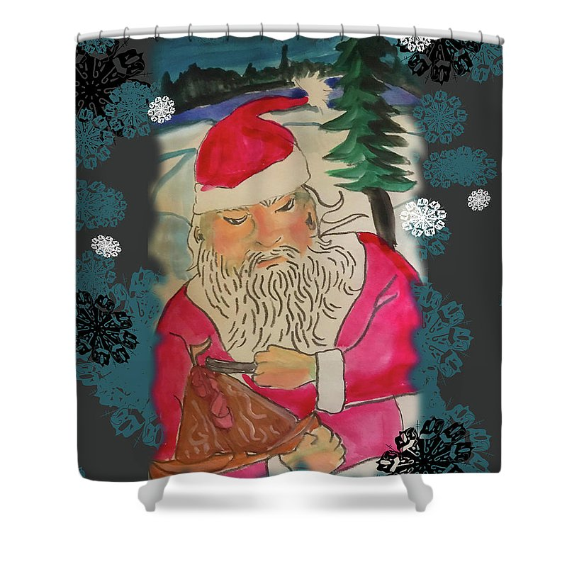 Santa Makes A Toy - Shower Curtain