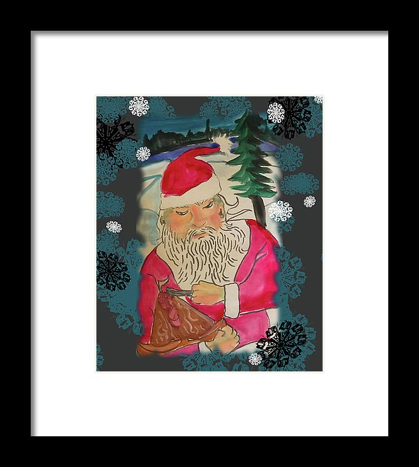 Santa Makes A Toy - Framed Print
