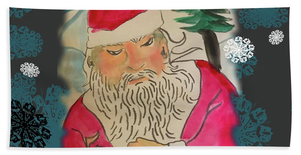 Santa Makes A Toy - Beach Towel