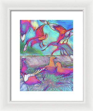 Seagulls In Pink Birds - Framed Print