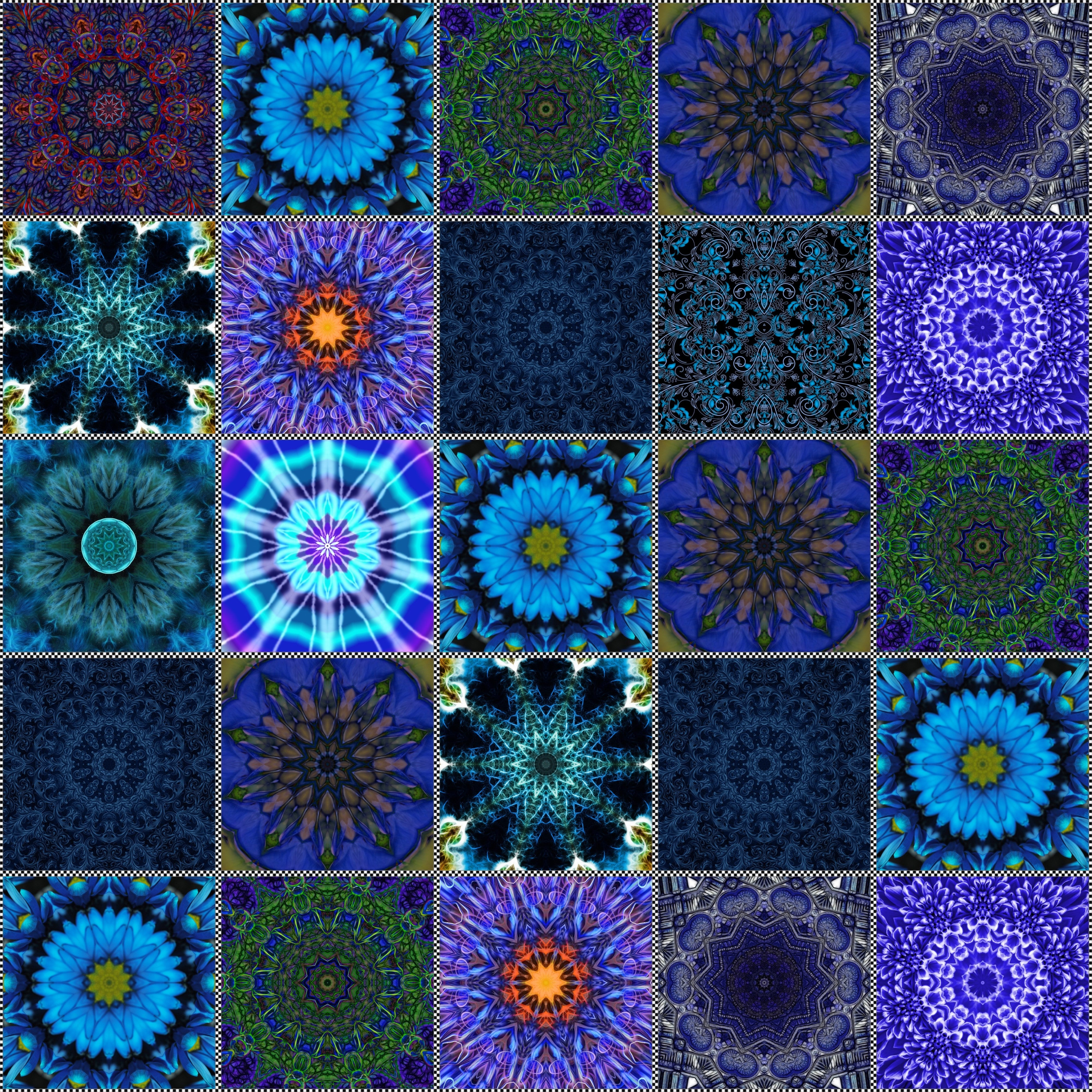 Blue Kaleidoscope Quilt Digital Image Download