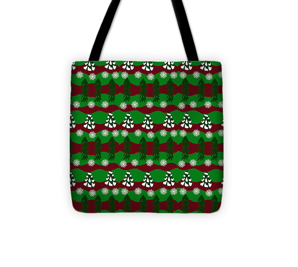 Snow Trees And Stripes - Tote Bag