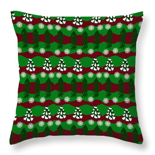 Snow Trees And Stripes - Throw Pillow