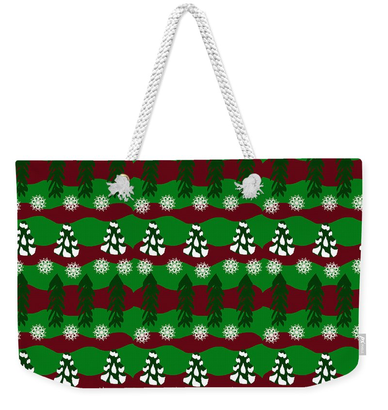Snow Trees And Stripes - Weekender Tote Bag