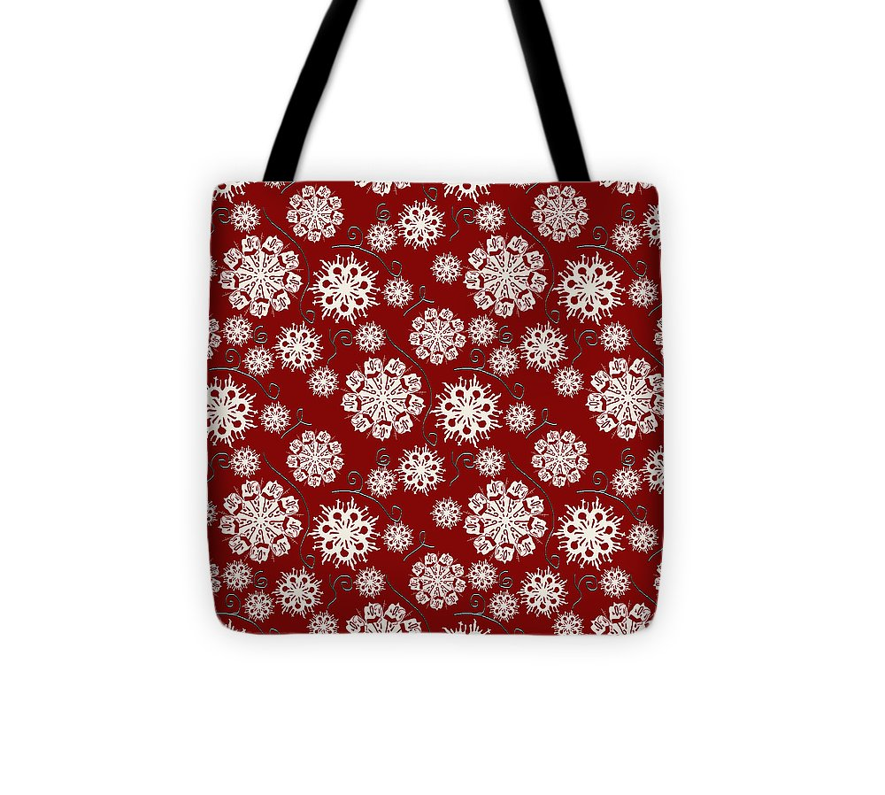 Snowflakes On Red - Tote Bag