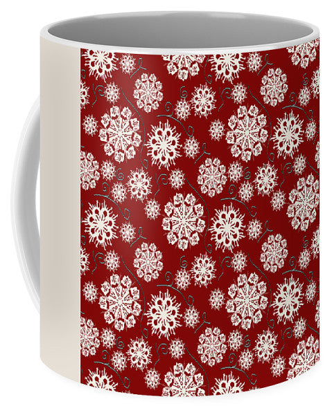 Snowflakes On Red - Mug