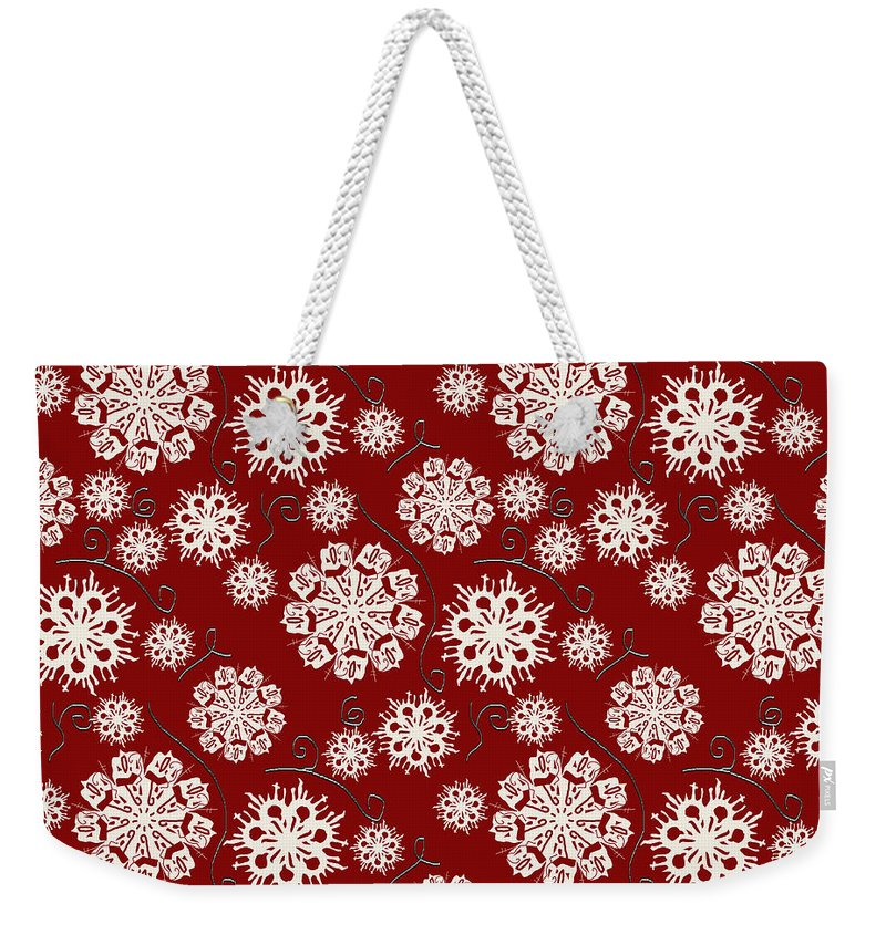 Snowflakes On Red - Weekender Tote Bag