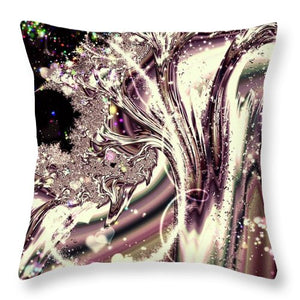 Sometimes I Can See Your Sould Silver Liquid Fractal - Throw Pillow