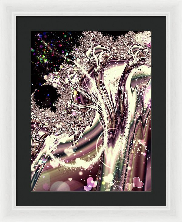 Sometimes I Can See Your Sould Silver Liquid Fractal - Framed Print