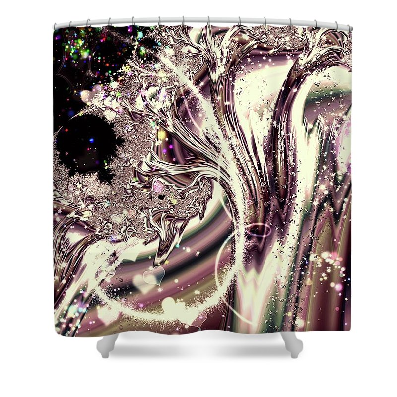 Sometimes I Can See Your Sould Silver Liquid Fractal - Shower Curtain