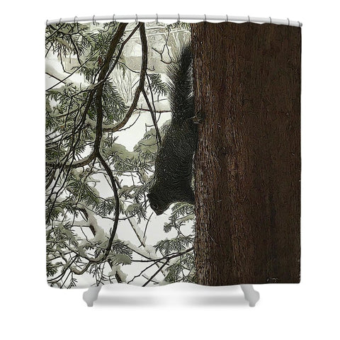 Squirrel On A Snowy Tree - Shower Curtain