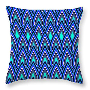 Teardrops In Blue - Throw Pillow