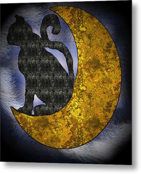 The Cat And The Moon - Metal Print