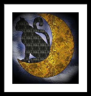 The Cat And The Moon - Framed Print
