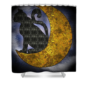 The Cat And The Moon - Shower Curtain