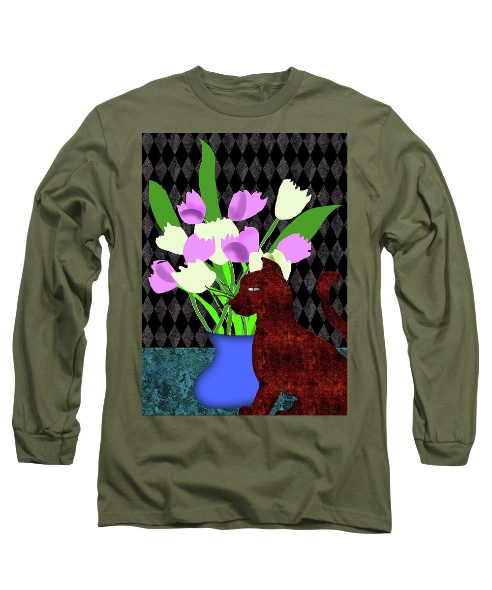 The Cat And The Tulips - Long Sleeve T-Shirt