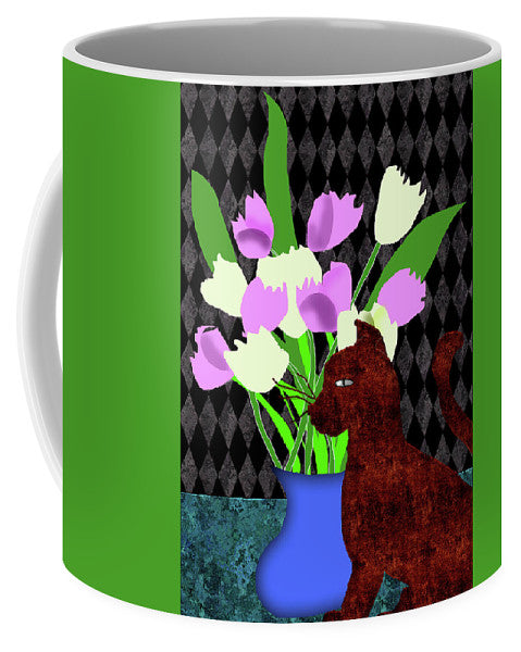 The Cat And The Tulips - Mug