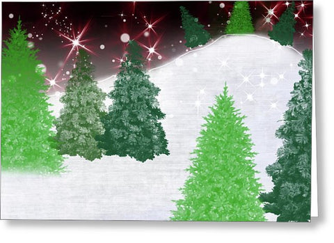 Trees On A Christmas Hill - Greeting Card