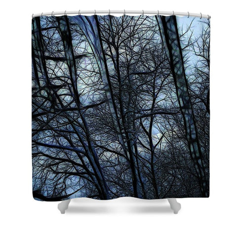 Twilight Icicles Snowscape - Shower Curtain