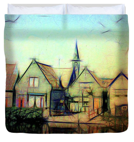 Vintage Travel A Light Look At A Little Town - Duvet Cover