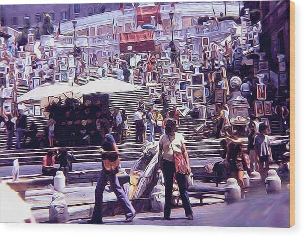 Vintage Travel Art Market On The Steps - Wood Print