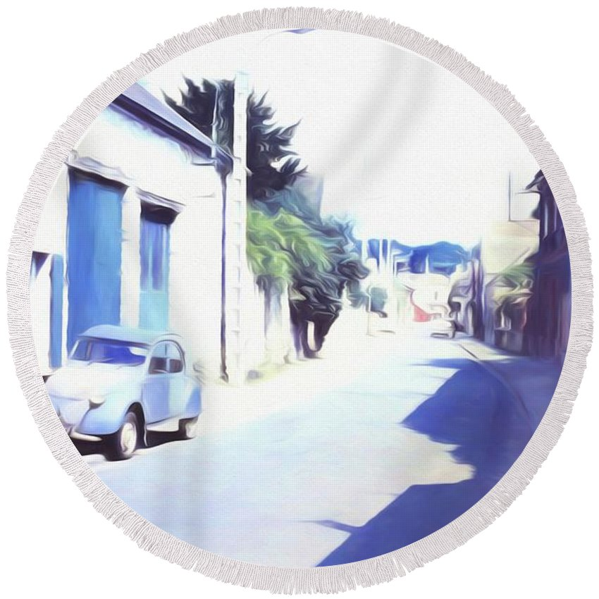 Vintage Travel Blue Car On The Street - Round Beach Towel