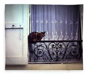 Vintage Travel Cat On A French Balcony 1967 - Blanket