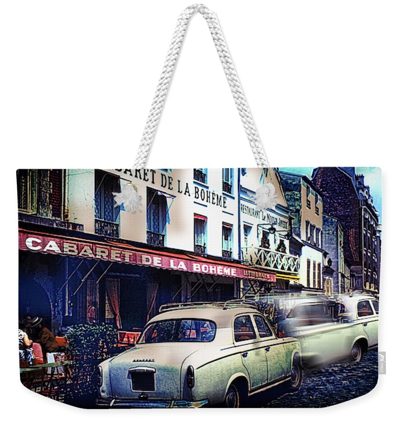 Vintage Travel French Cafe Street Scene 1967 - Weekender Tote Bag