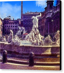 Vintage Travel Italian Fountain - Canvas Print