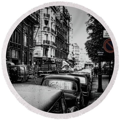 Vintage Travel Paris Street 1967 - Round Beach Towel