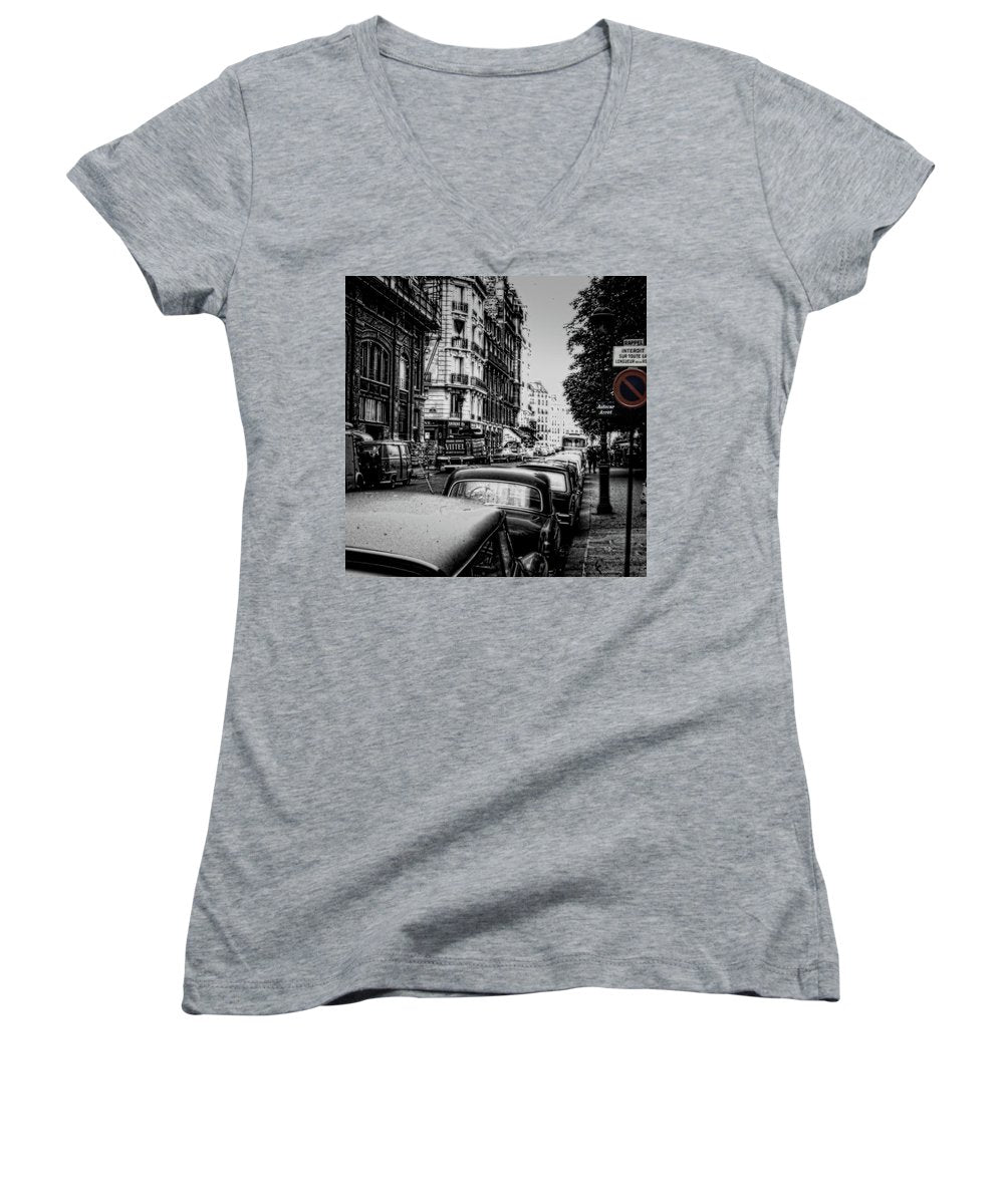 Vintage Travel Paris Street 1967 - Women's V-Neck
