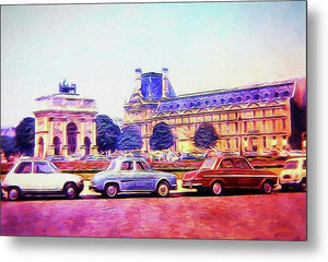 Vintage Travel Parking Outside The Museum 1972 - Metal Print