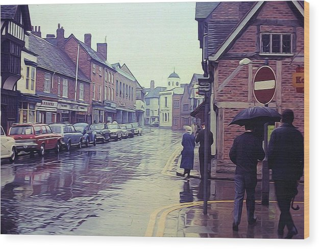 Vintage Travel Rainy Day In Britain - Wood Print