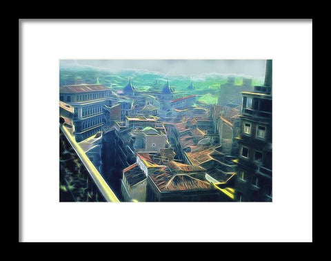 Vintage Travel Rooftops - Framed Print