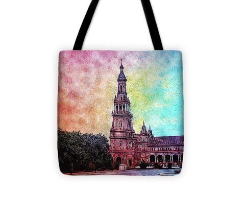 Vintage Travel Tower In The Square - Tote Bag