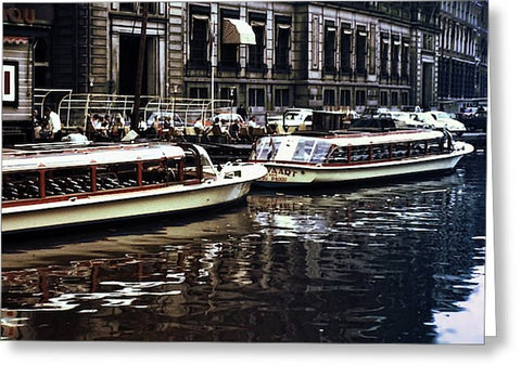 Vintage Travel Vintage Boats Amsterdam - Greeting Card