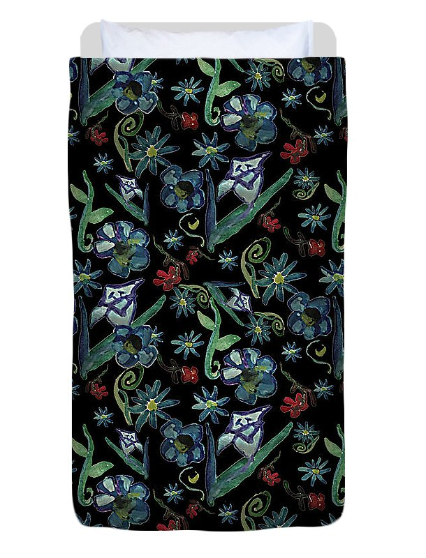 Watercolor Flowers On Black - Duvet Cover