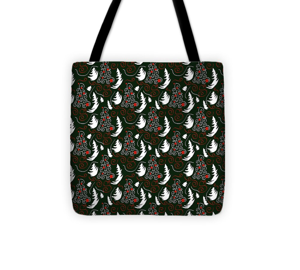 White Tree On Green - Tote Bag