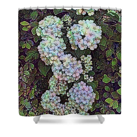 White Wildflower Hedge - Shower Curtain
