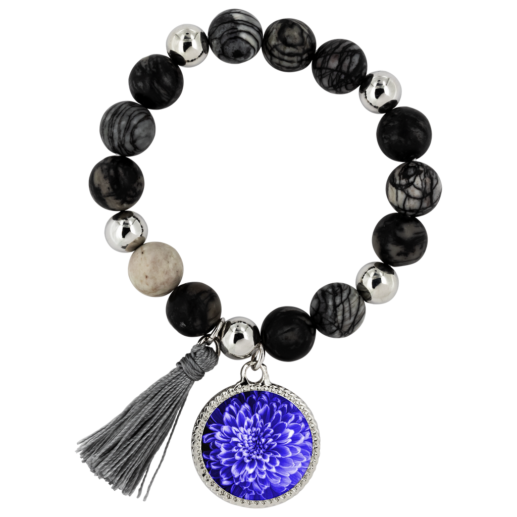 Blue Chrysanthemum Lyric Bracelet