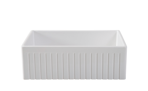 Narrow Fluted Single Bowl Fireclay Farmhouse Sink 30 inch