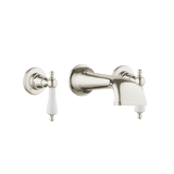 Heritage Basin Three Hole Set with Concealed Spout - Porcelain Levers