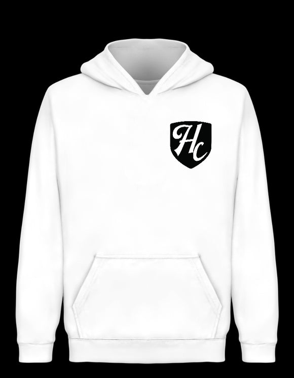 Badge Hoodie White - Highcons Aparrel