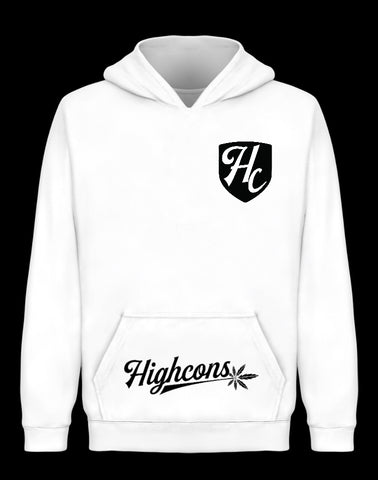 Badged Icon Hoodie White - Highcons Aparrel