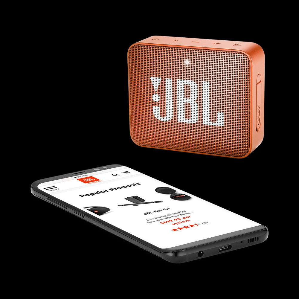 JBL Go 2 Portable Bluetooth Waterproof Speaker (Orange)