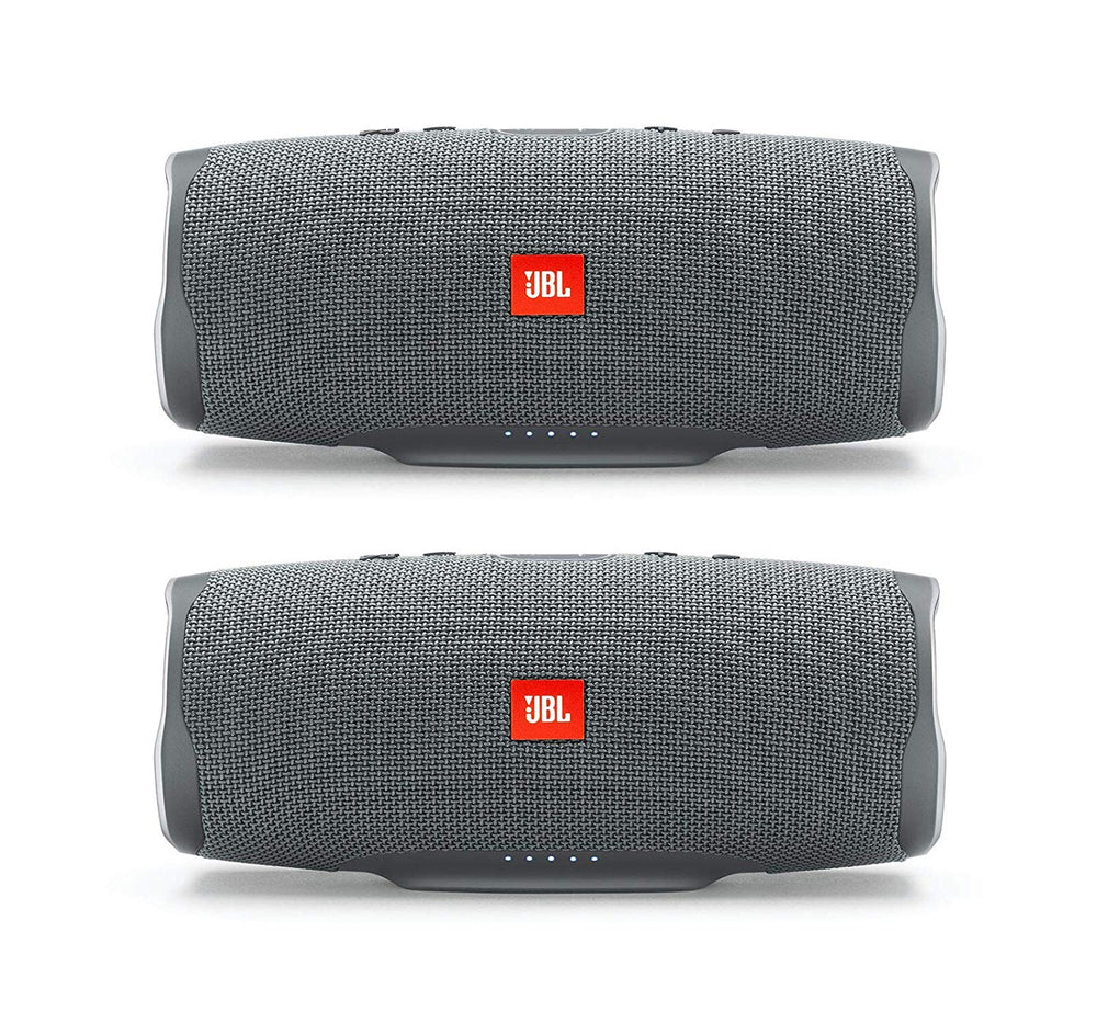 JBL Charge 4 Portable Waterproof Wireless Bluetooth Speaker Bundle - Pair (Gray)