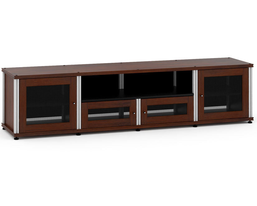 Salamander Designs 245W/A Quad-Width Audio Video Cabinet, Walnut with Aluminum Posts