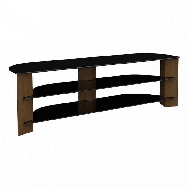 AVF FS1500VARWB-A Varano TV Stand with Glass Shelves for TVs up to 75-Inch, Walnut and Black Glass