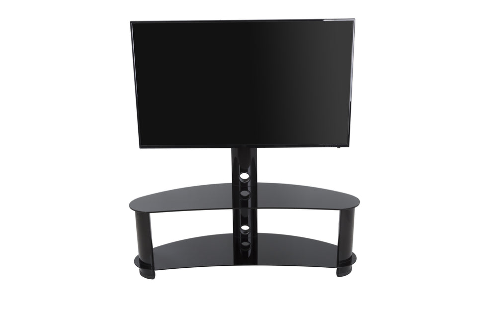 AVF Reflections - Jelly Bean 1200 Curved Pedestal TV Stand (Black/Black Glass)